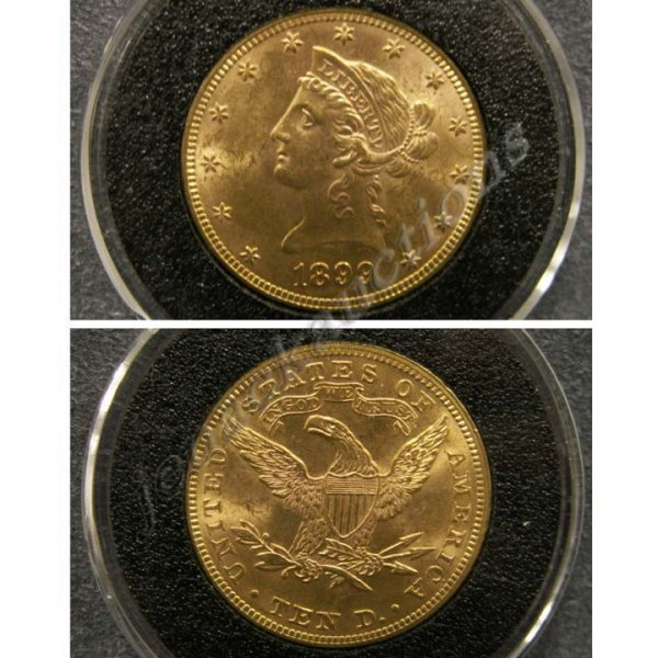3: 1899 LIBERTY HEAD $10.00 GOLD COIN (MS-60)