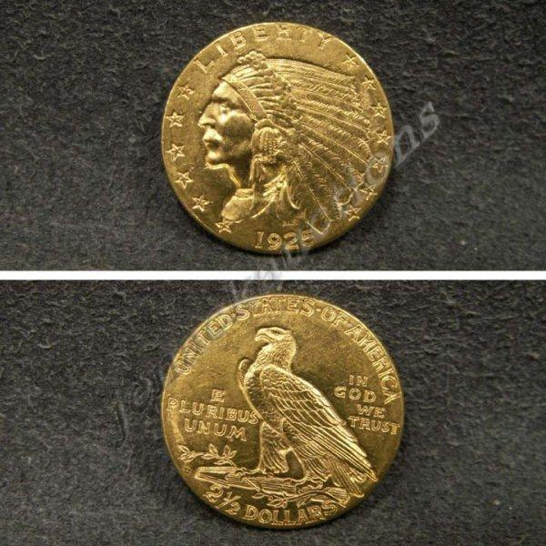 4: 1925-D INDIAN HEAD $2.50 GOLD COIN (AU-55)