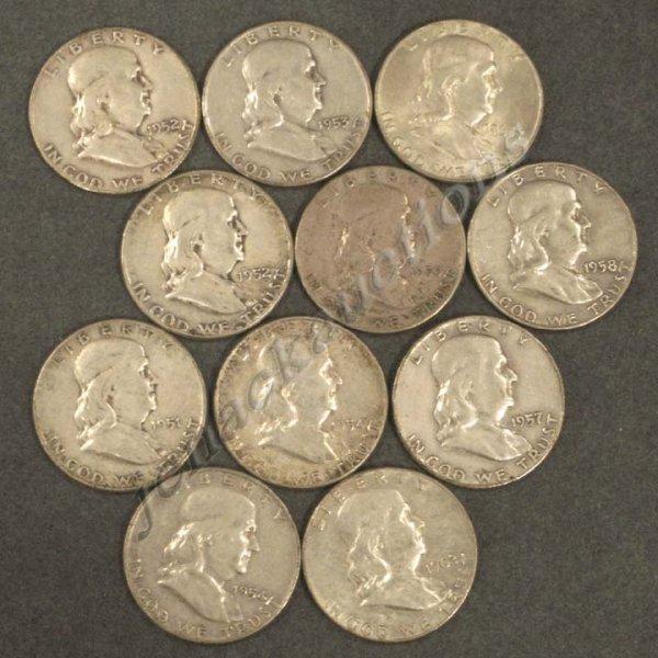 6: LOT (11) COMMON FRANKLIN SILVER HALF DOLLAR COINS
