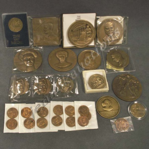8: LOT (29) ASSORTED BRONZE MEDALLIONS-VARIOUS SUBJECTS