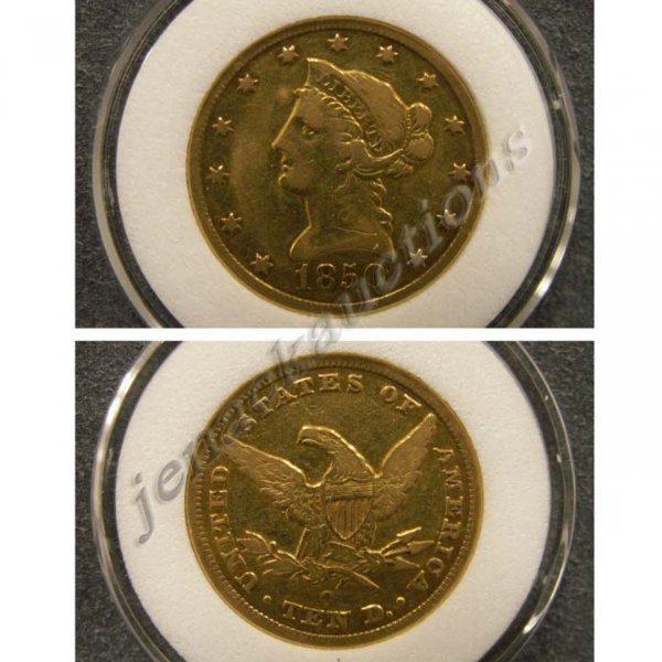 9: 1850-O LIBERTY HEAD $10.00 GOLD COIN (VF-20)