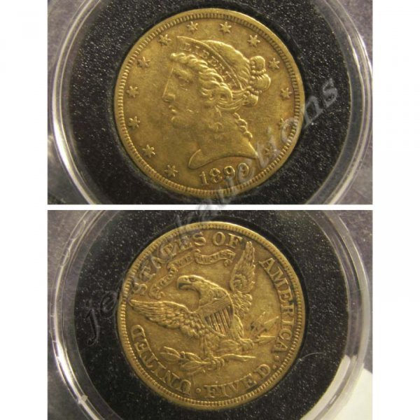11: 1899 CORONET HEAD $5.00 GOLD COIN (XF-40)