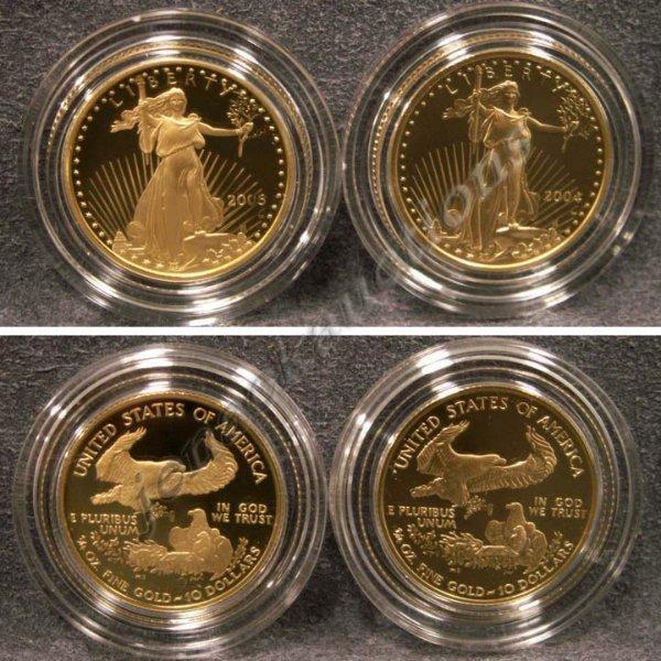 18: LOT (2) INC. AMERICAN EAGLE ¼ OZ GOLD COIN