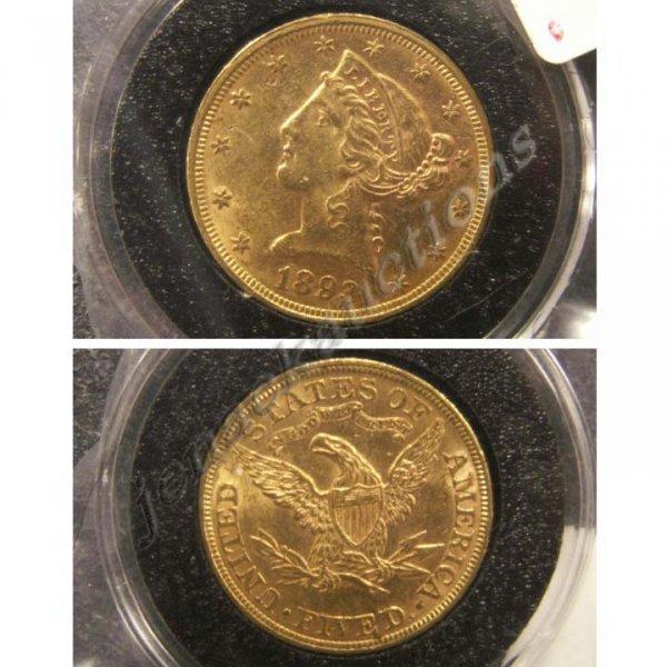 20: 1893 CORONET HEAD $5.00 GOLD COIN (AU-50)