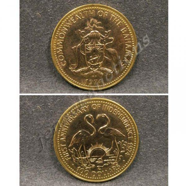 21: 1974 BAHAMAS ONE HUNDRED DOLLAR GOLD .500 COIN