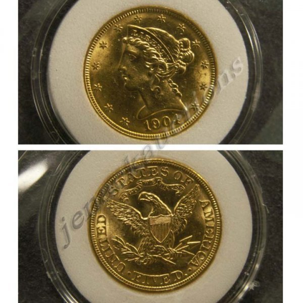 23: 1904 CORONET HEAD $5.00 GOLD COIN (ENI MS-60)