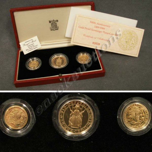 100: 1989 GREAT BRITAIN GOLD PROOF SOVEREIGN THREE COIN