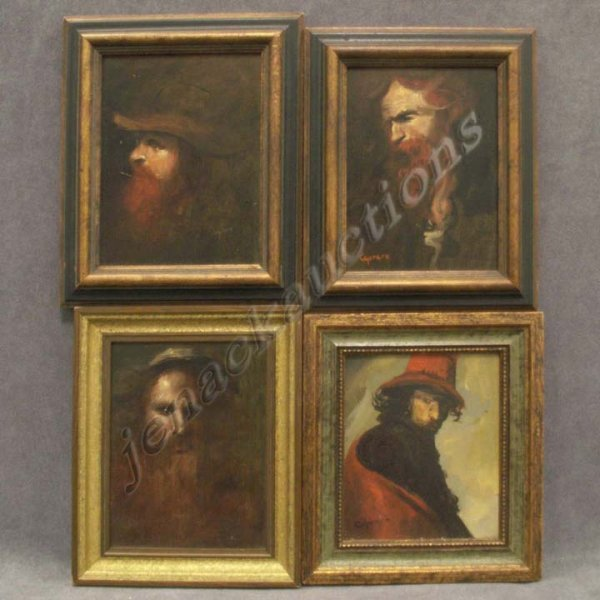 1001: LOT (4) PAINTINGS, PORTRAITS AFTER MASTERS