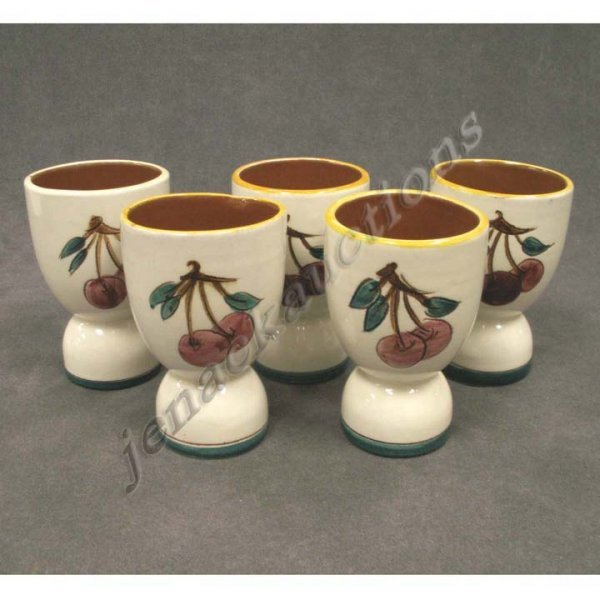 1005: SET (5) STANGL POTTERY CHERRY DECORATED EGG CUPS