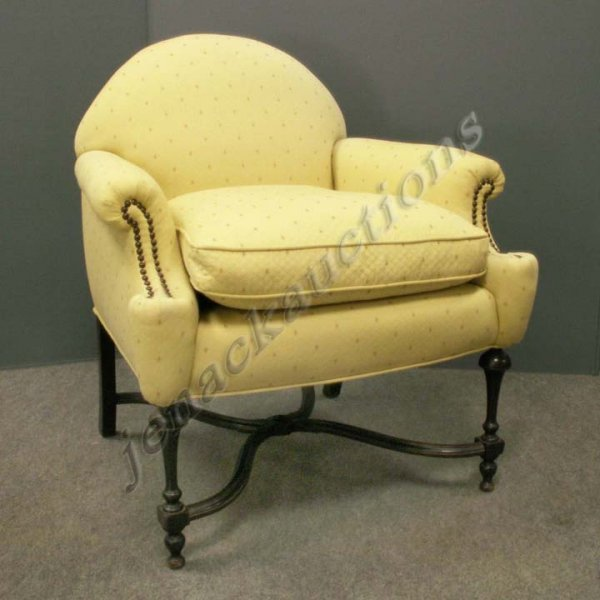 1007: WILLIAM AND MARY STYLE CARVED WALNUT ARMCHAIR