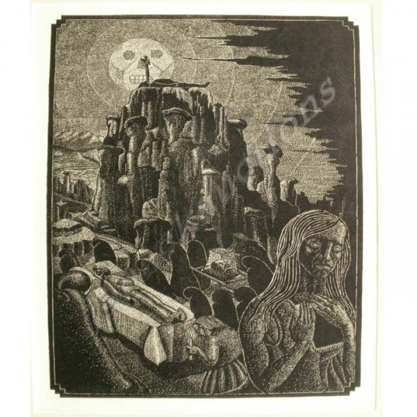 """1008: WOOD ENGRAVING, """"VISION"""", SIGNED YLLANES"""