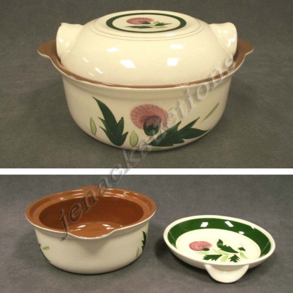 1013: STANGL POTTERY THISTLE DECORATED COVERED CASSEROL