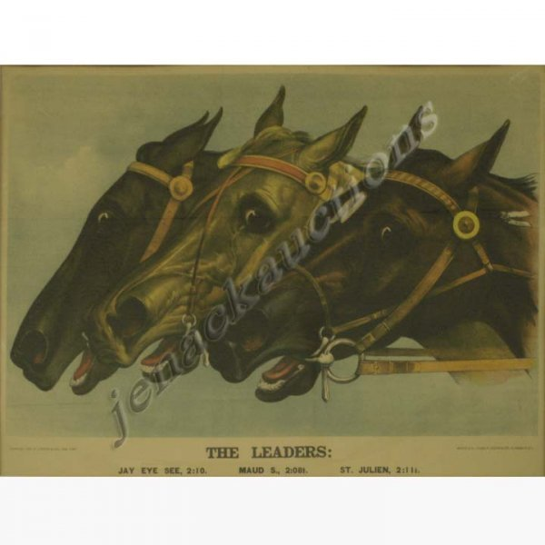 """1019: CURRIER AND IVES COLORED LITHOGRAPH, """"THE LEADERS"""