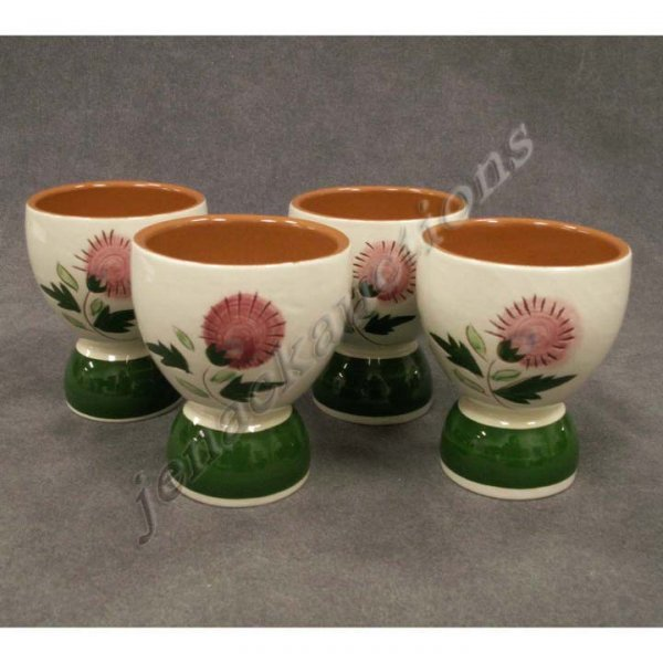 1021: LOT (4) STANGL POTTERY THISTLE DECORATED EGG CUPS