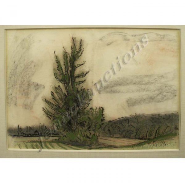 1024: INK/CHARCOAL, FARM SCENE-ROCKLAND CITY, POOR