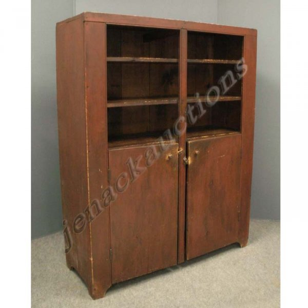 1247: COUNTRY 2-DOOR CUPBOARD WITH OLD RED WASH