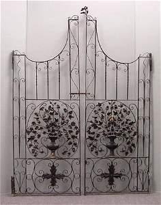 215: PAIR WROUGHT IRON GATES