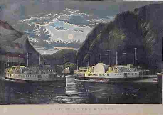312: CURRIER & IVES HAND COLORED LITHOGRAPH