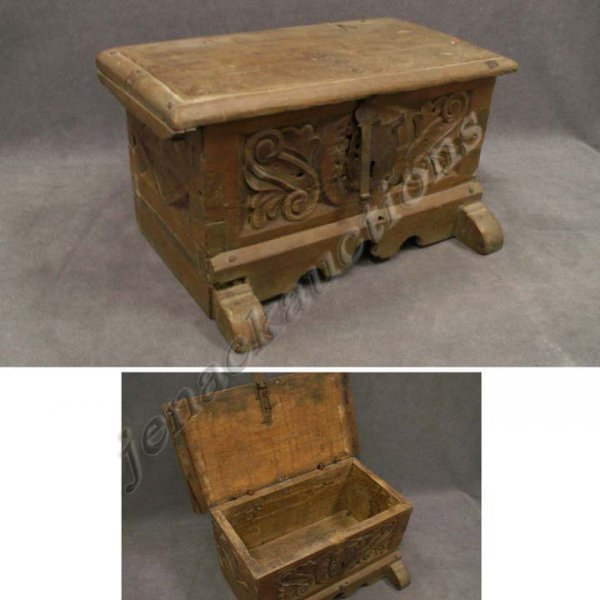 2009: CONTINENTAL CARVED PINE DOCUMENT BOX