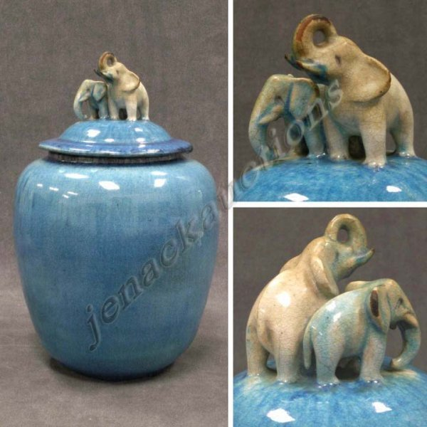 2362: ART POTTERY COVERED JAR WITH ELEPHANT FINIAL