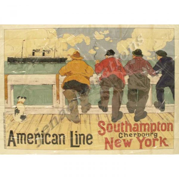 2383: HENRI CASSIERS LITHOGRAPH/POSTER, AMERICAN LINE