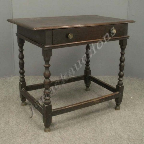 3: WILLIAM AND MARY STYLE CARVED OAK SIDE TABLE