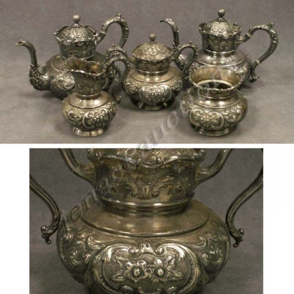 10: ORNATE MERIDEN REPOUSSE SILVER PLATE TEA/COFFEE