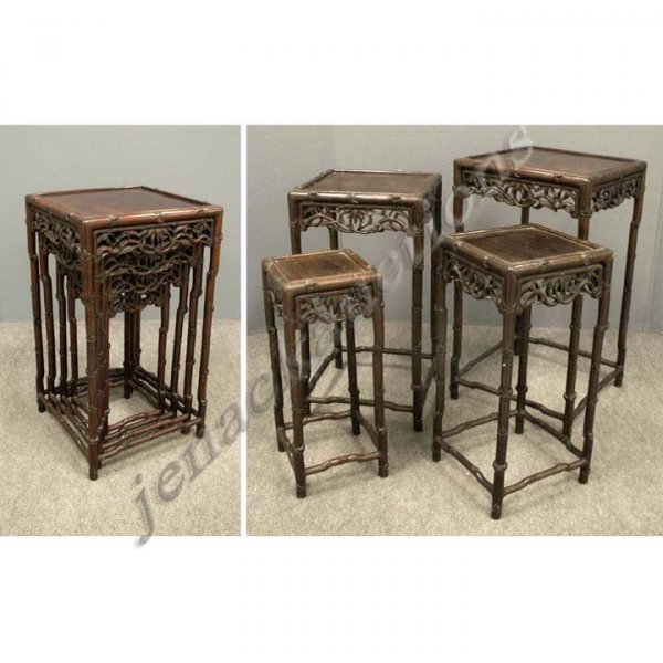 12: SET (4) CHINESE CARVED MOUNTAIN ASH NESTING TABLES
