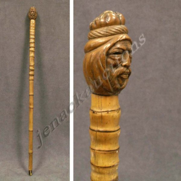 14: VINTAGE CARVED TURK'S HEAD CANE WITH BAMBOO SHAFT
