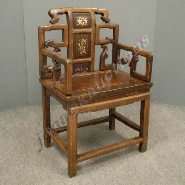 15: CHINESE MT. ASH CARVED/INLAID ARMCHAIR