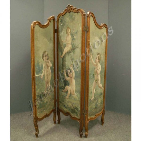 23: FRENCH STYLE CARVED 3-PANEL SCREEN