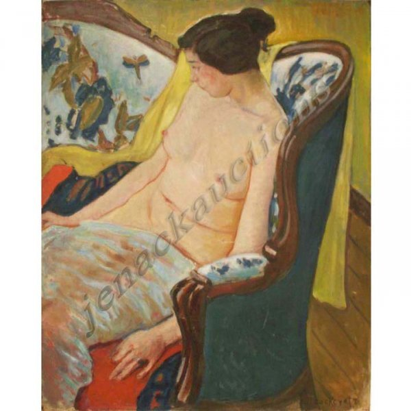267: PAINTING, SEATED NUDE, SIGNED COCKCROFT