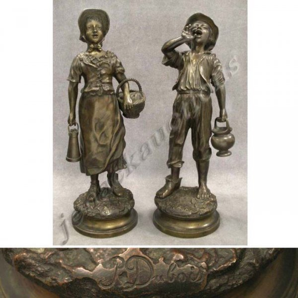1002: PAIR BRONZE FIGURES, YOUNG MAN & WOMAN