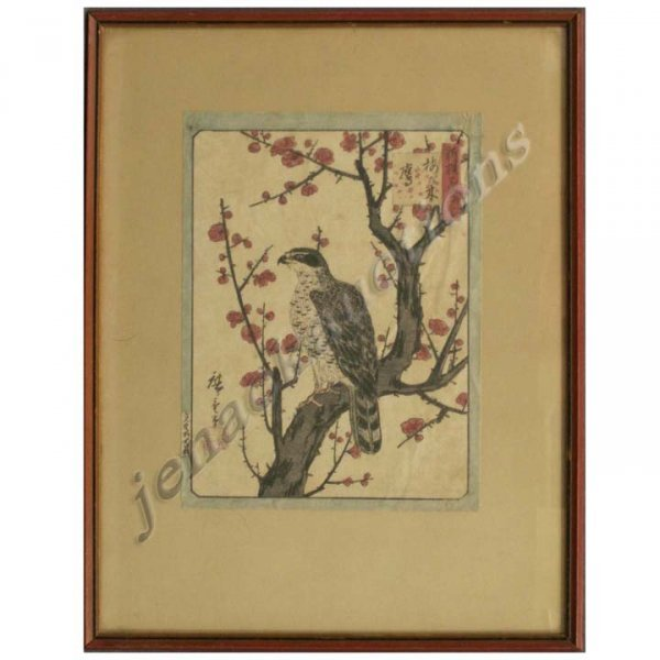 1008: JAPANESE WOODBLOCK PRINT, FALCON, AFTER HIROSHIGE