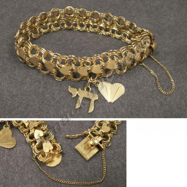 1012: 14K YELLOW GOLD CHARM BRACELET WITH (2) CHARMS