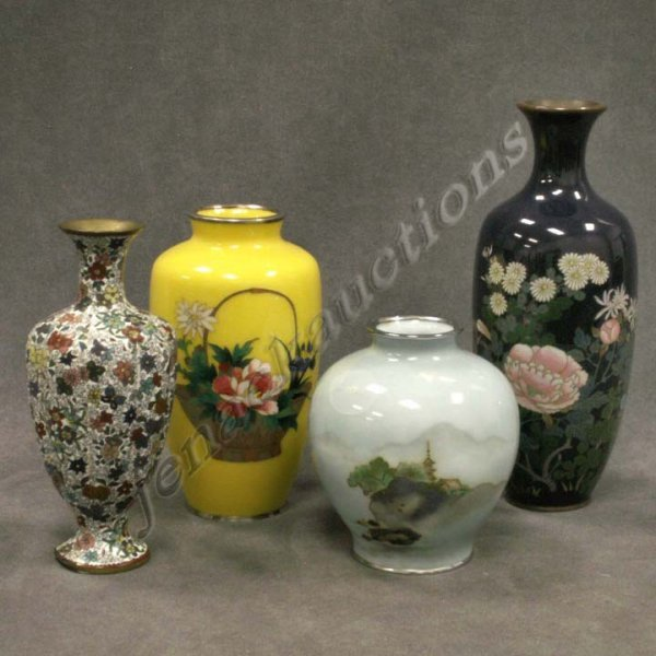 1018: LOT (4) ASSORTED JAPANESE CLOISONNE VASES