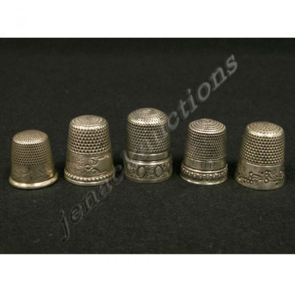1021: LOT (5) STERLING THIMBLES