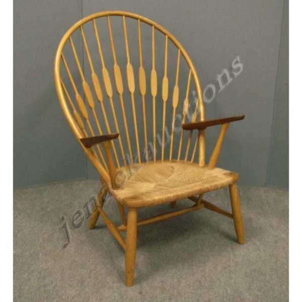 1191: DANISH DESIGN OAK/TEAK ARROW-BACK ARMCHAIR
