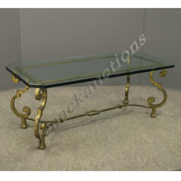 1339: PAIR BAROQUE STYLE GILT WROUGHT IRON COFFEE TABLE