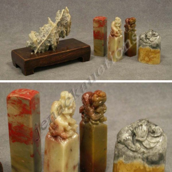 4: ASSORTED CHINESE CARVED SOAPSTONE SEALS