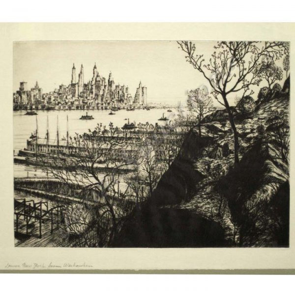 8: ETCHING, LOWER MANHATTAN, KUEHNE