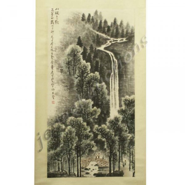 11: CHINESE WATERCOLOR ON PAPER SCROLL PAINTING
