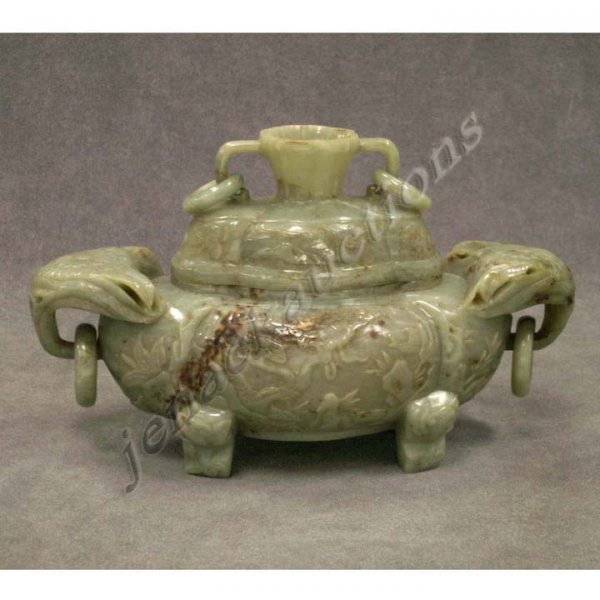 13: CHINESE CARVED JADE INCENSE BURNER