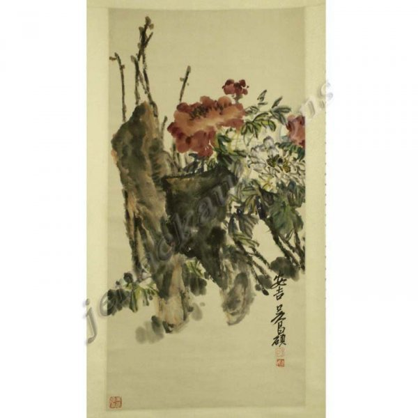 14: CHINESE WATERCOLOR ON PAPER SCROLL PAINTING