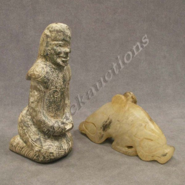 23: LOT (2) CHINESE CARVED STONE FIGURES