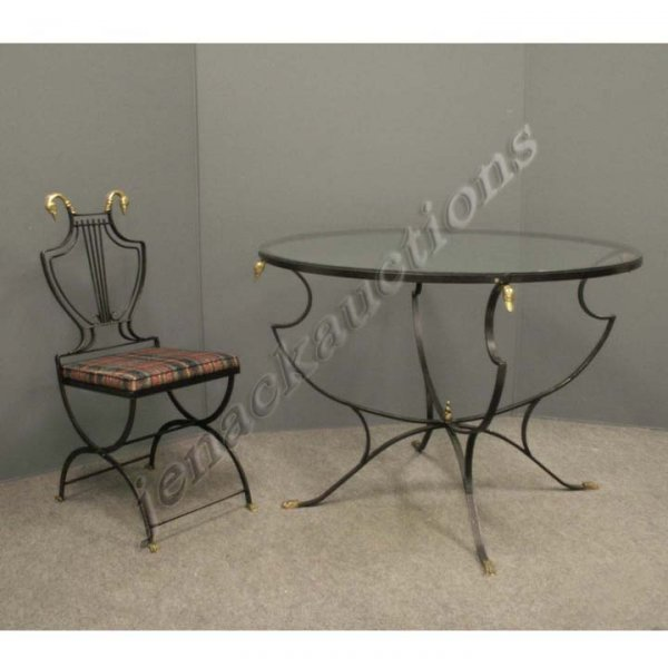 24: SET WROUGHT IRON/BRASS GLASS TOP TABLE & CHAIRS