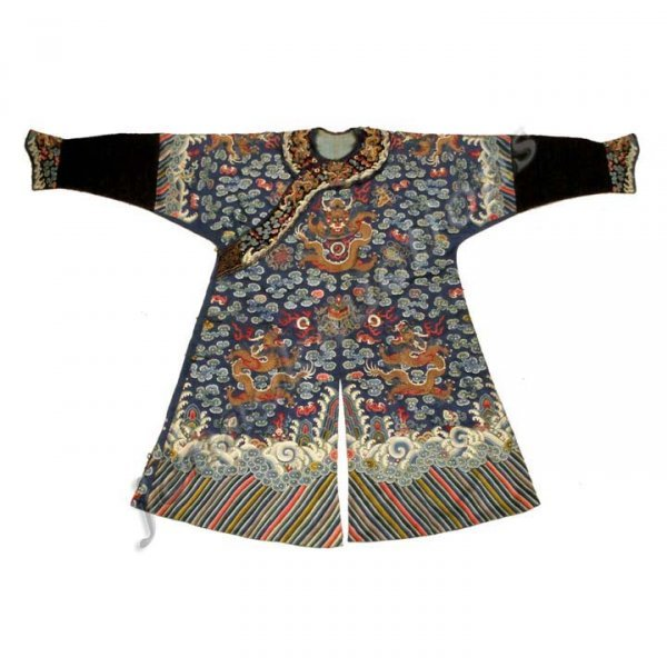 275: CHINESE KESI EMBROIDERED SILK DRAGON ROBE