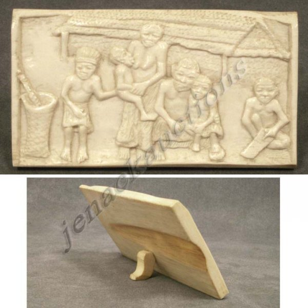 1005: AFRICAN ELEPHANT IVORY CARVED PANEL (PRE-ACT)