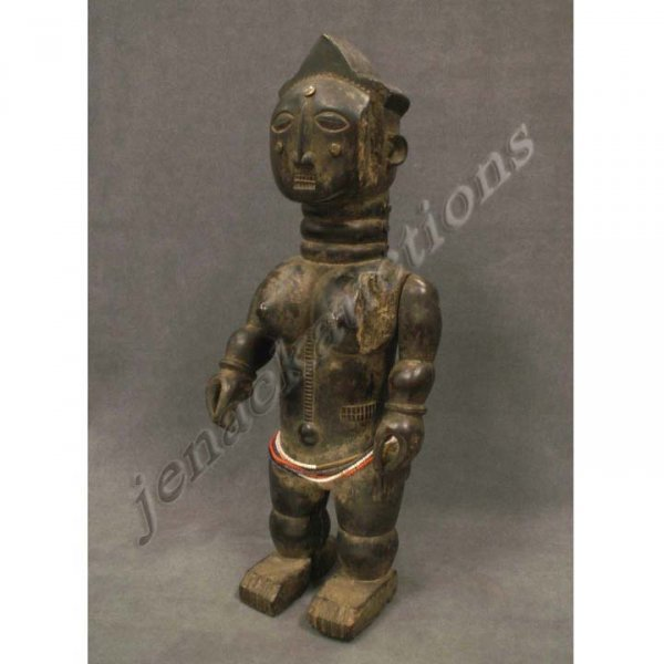 1011: EBRIE' CARVED FEMALE FIGURE WITH ARTICULATED ARMS