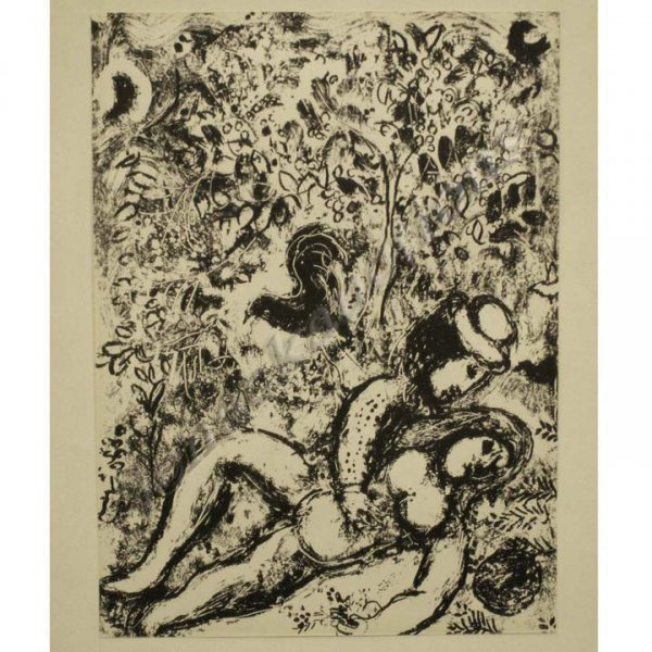 1012: LITHOGRAPH, LOVERS BESIDE TREE, MARC CHAGALL